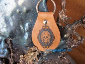 Hand-colored skull cameo keyfob